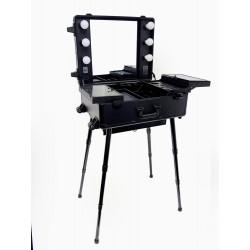 Mallette make up station noire (miroir + ampoules)